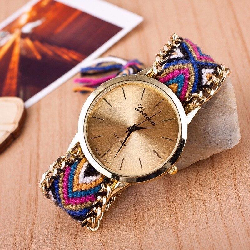 Relogio Feminino Unisex Watches Fashion casual Watch Women Dress Watches national manual Weave Gold Bracelet Quartz Wristwatch in Women 39 s Watches from Watches