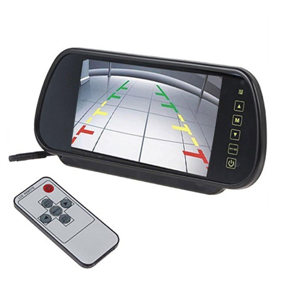 7'' Universal Digital LCD Color HD Car Rear View Mirror Monitor with 2AV input remote control Touch Button Auto Mirror Monitor