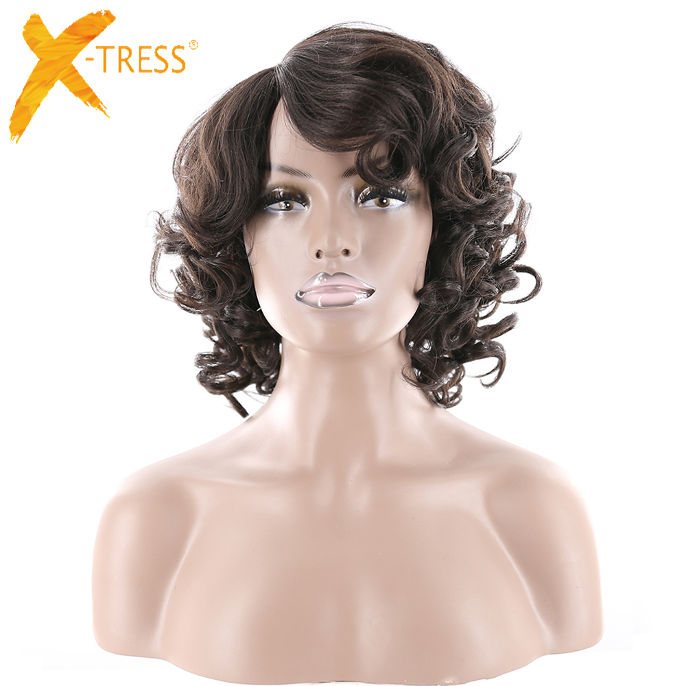 Afro Crespo Ricci Parrucche Sintetiche Dei Capelli Con Bang X-TRESS 613 Bionda di Colore Marrone Breve Bob Parrucca parrucca Per African American delle donne