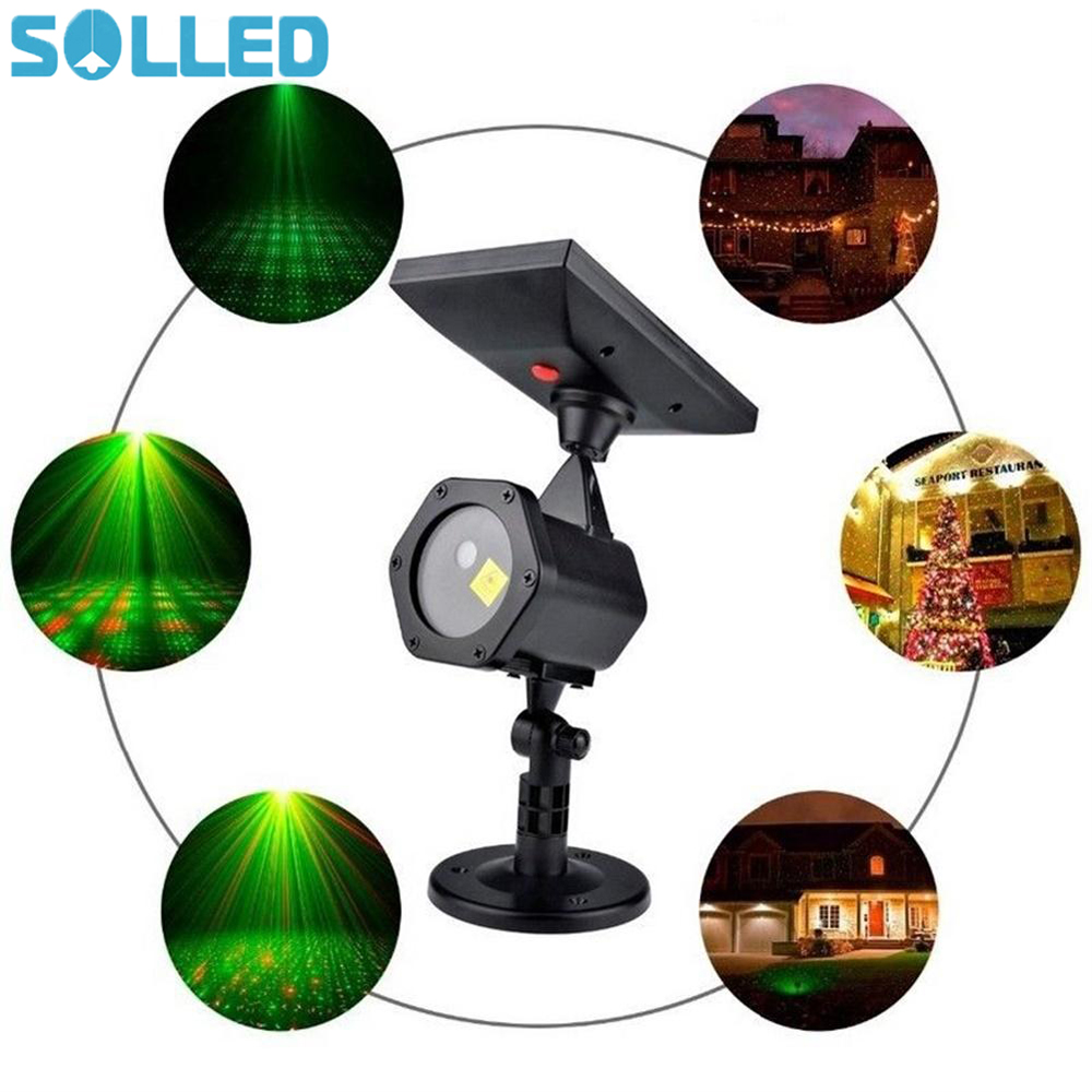 SOLLED Outdoor Waterproof Solar Powered Projector Lawn Lights LED Laser Lights for Yard Garden Christmas Party