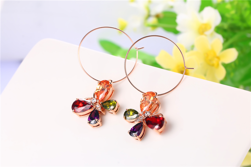 e PISSENLIT Clover Shape Drop Earrings Colorful Rhinestone Earrings Women Jewelry 2019 New Fashion Grace Summer Jewelry For Beach