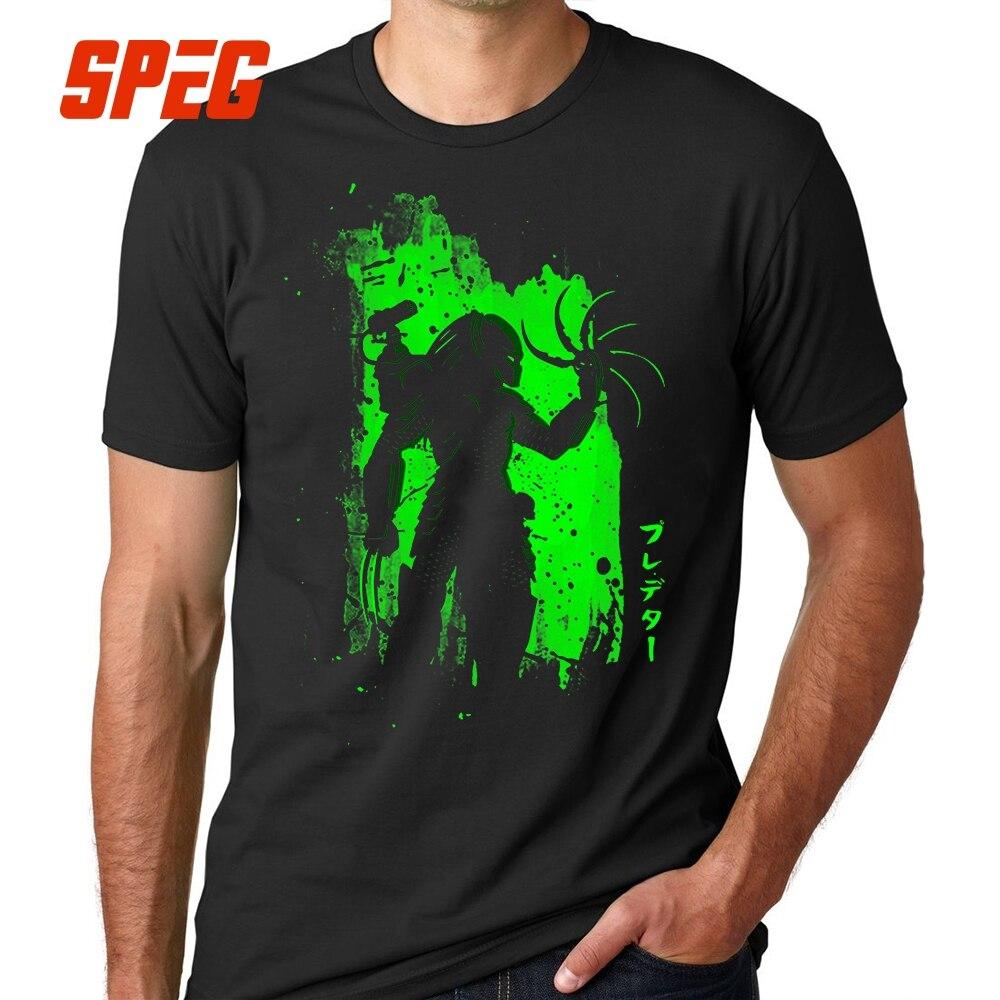 Black Tee Shirt Men Aliens vs Predator T Shirts Male Cotton Short Sleeve Plain Clothes Create Men's Street T-Shirt Round Neck