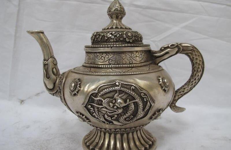 9 Chinese Tibet Folk Silver Auspicious Symbol Dragon teapot Flagon wine pot9 Chinese Tibet Folk Silver Auspicious Symbol Dragon teapot Flagon wine pot
