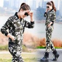 Yüksek kalite! 2017 bahar yeni kadın üniforma kamuflaj eğlence takım ordu suits