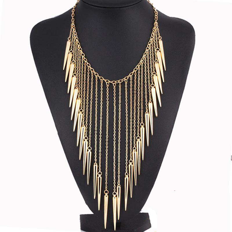 2016 New Collares Jewelry European Style Vintage Fashion Necklaces Rivet Long Tassel Punk