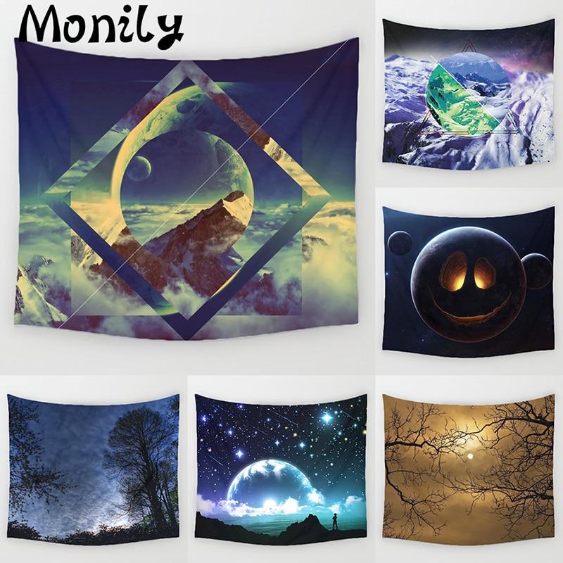Monily Luna poliéster fantasía hermosa montaña escénico impreso colgante tapicería de pared decoración Yoga salón Decoración