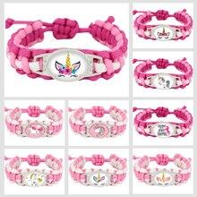 Unicorn Horse Adjustable Paracord Bracelets Flamingos Charm Women Girls Fashion Jewelry Best Friends Party Gift