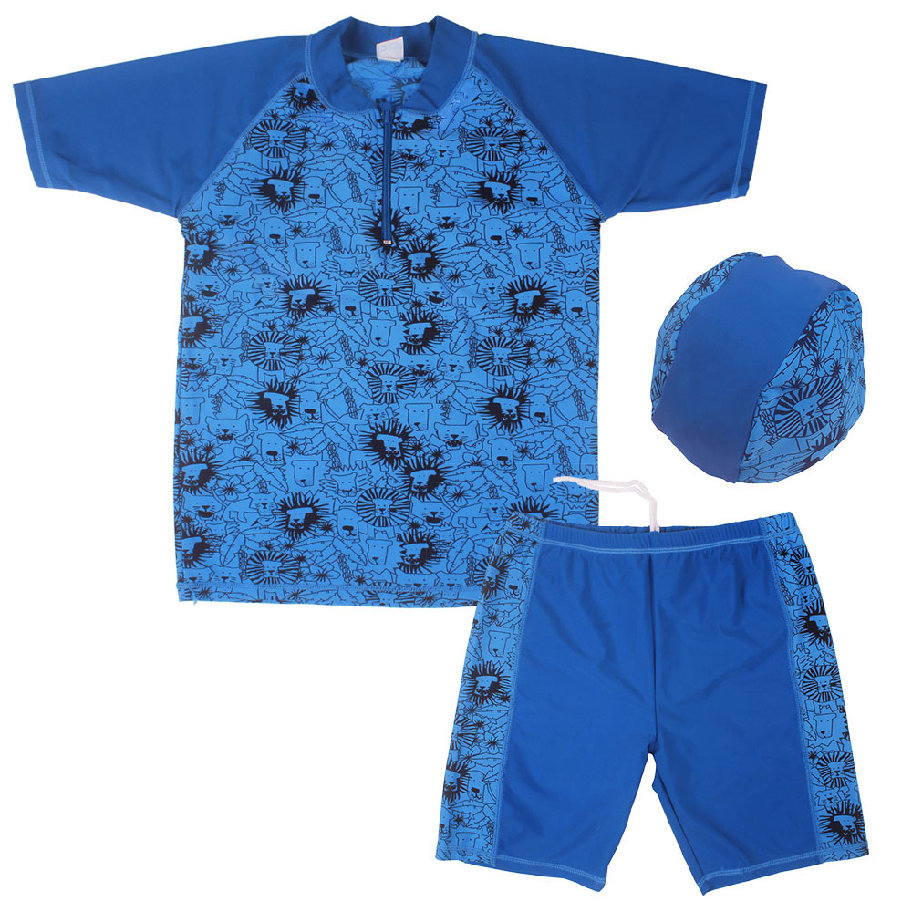 Set Boys UV Protection Swimsuit Bathing Swimming Suit Swimwear (UPF50+) Sz5-16Y with Hat The Lion King Tops+Shorts