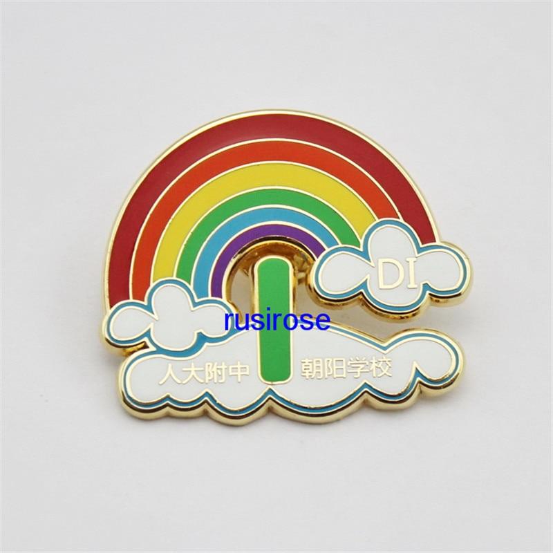 Personalizado rainbow broche moda costume, rainbow metal emblema comemorativo personalizado, broche de esmalte macio de metal personalizado