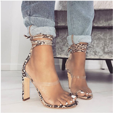 2019 Summer New Shoes Woman Sandals Snake pattern Lace-up Pumps High Heels Ankle Strappy Cross-Tied Shoe Size 40