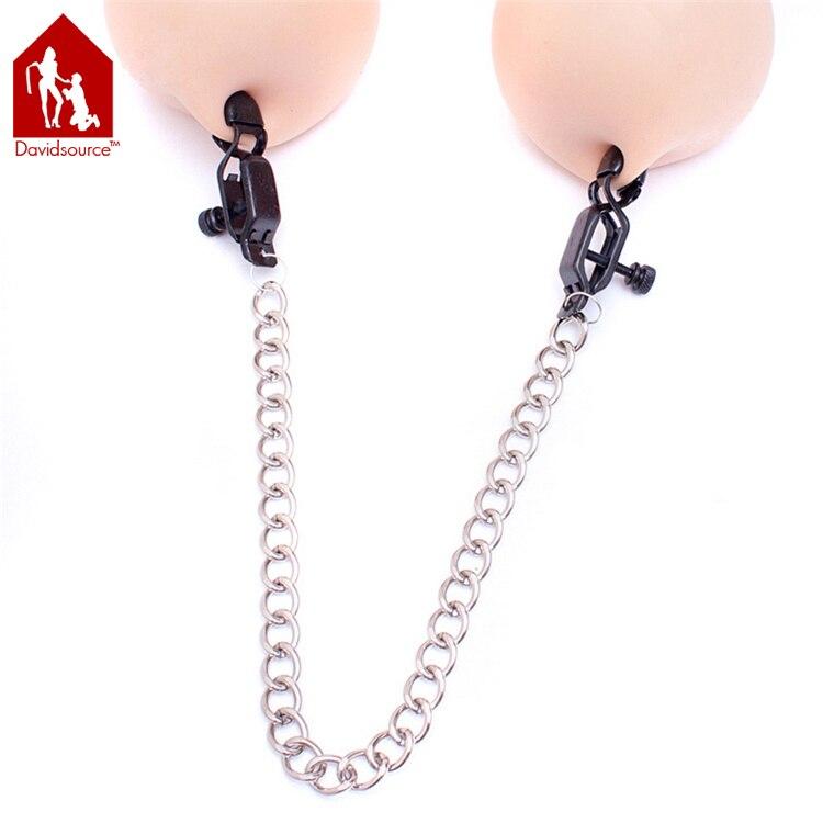 Buy Davidsource Unisex Black Stainless Steel Adjustable Nipple Clamps Chain Flirty Clips BondageTorture Kit Slave Training