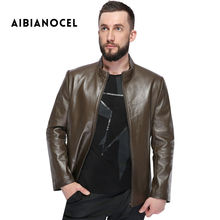 AIBIANOCEL 2017 Winter Fashion New Style Men's Genuine Leather Coat Autumn Male Slim Fit Sheepskin Jacket  Leather Jacket Men