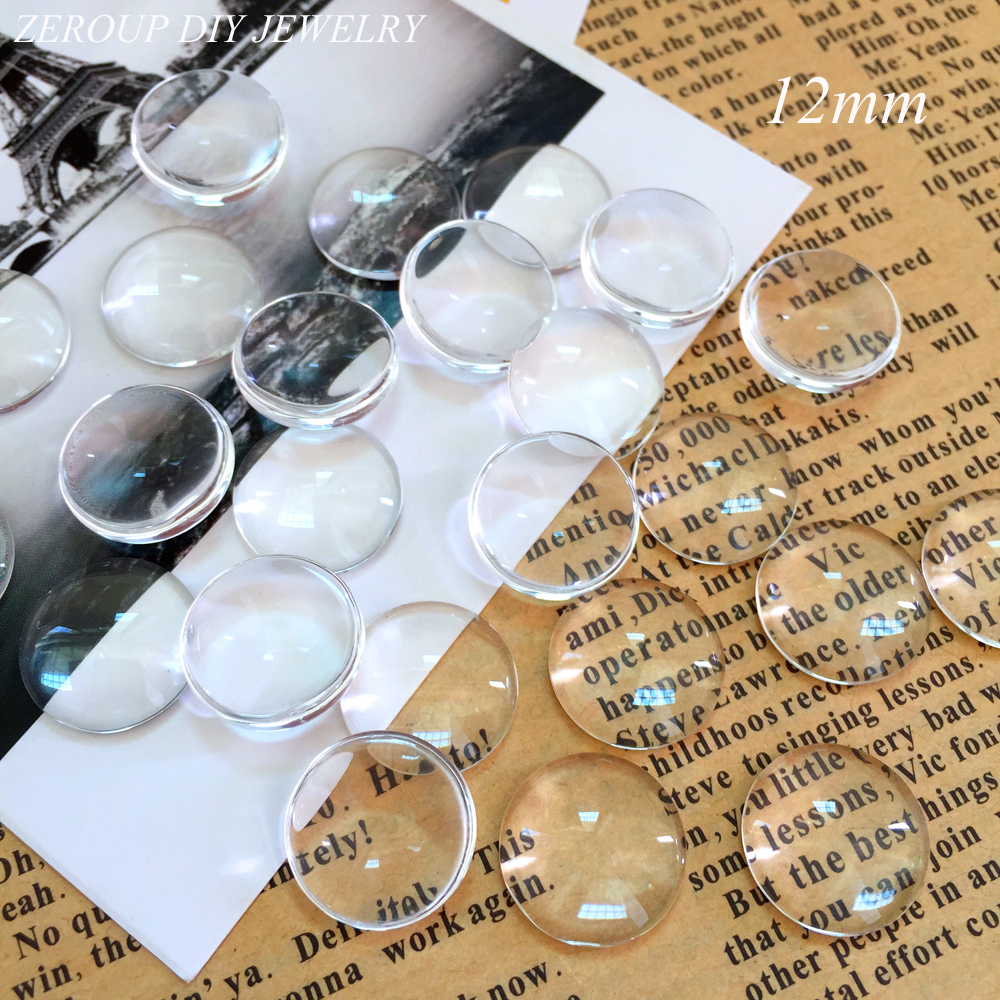 ZEROUP 50pcs/lot 12mm Handmade Transparent Clear Glass Cabochon Domed Round Jewelry Accessories Supplies for jewelry 50pcs lot fr9220