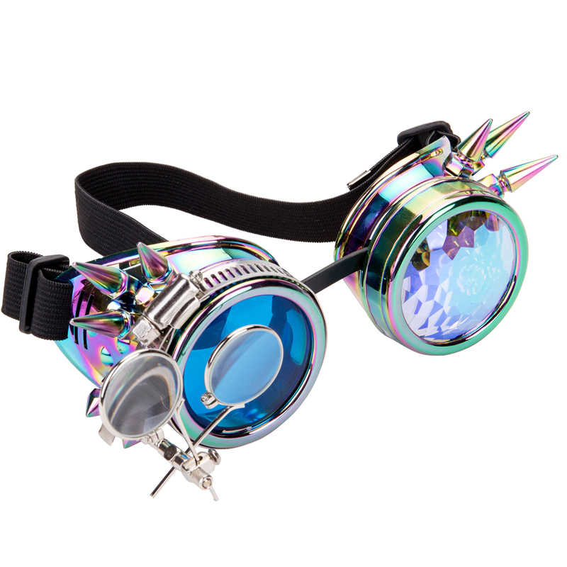 FLORATA Punk Gothic Goggles Different Lens Rainbow EDM Glasses Unisex Rivet Steampunk Goggles Cosplay Vintage Gothic Eyewear
