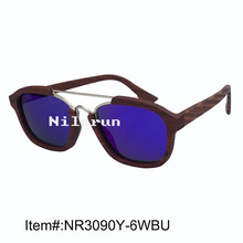 Popular hot selling pilot syle blue polarized lens double gold  metal bridge red rose wood sunglasses
