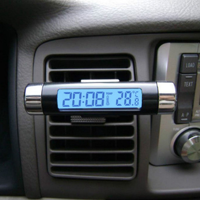 New Hot Sale 2 in1 Car Auto LCD Clip on Digital Backlight Automotive Thermometer Clock Calendar