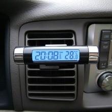 Новая горячая Распродажа 2 in1 авто ЖК-дисплей клип на цифровой Подсветка Автомобильная часы термометр Календари автомобильной цифровой автомобиль часы