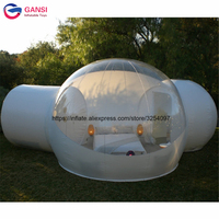 Commercial outdoor inflatable clear lawn bubble tent with tunnel,4m inflatable dome tent for camping