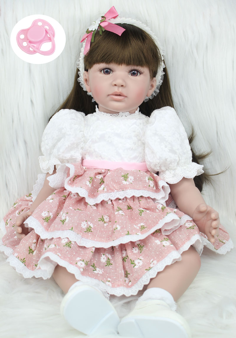 60cm Silicone Vinyl Reborn Baby Doll Toys Lifelike Fashion Baby Girls Birthday Gift Princess Dolls Collection Play House Toy