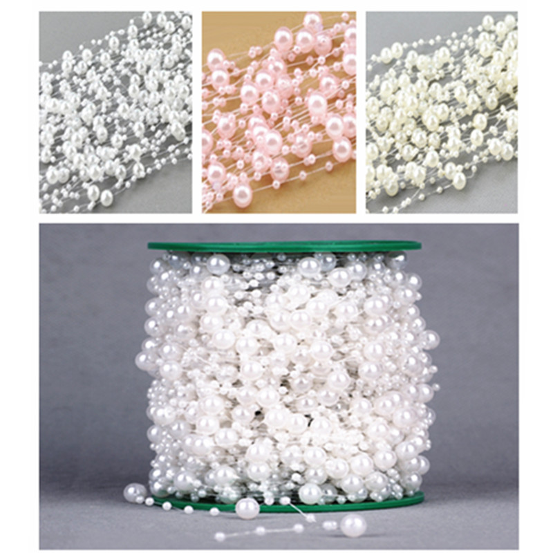 5 Meters Fishing Line Artificial Pearls Beads Chain Garland Flowers Bridal Tiara Wedding Decoration Event Party Supplies Beige