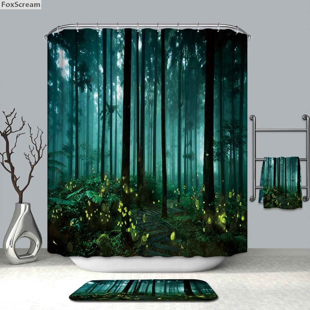 Green Shower Curtain Waterproof Shower Curtain With Hooks Scene