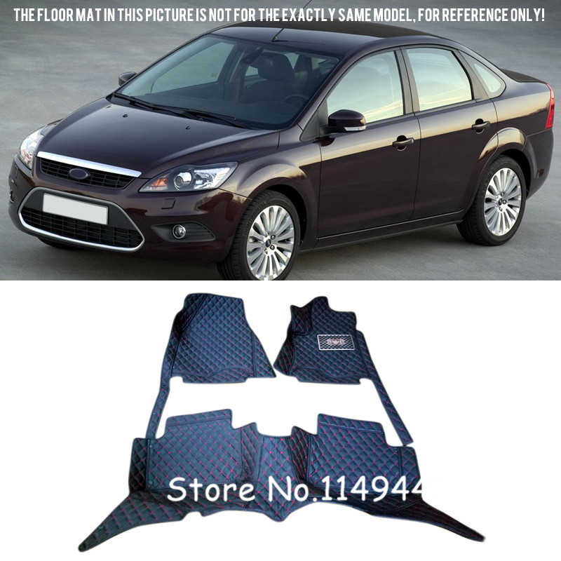 For Ford Focus 2005 2006 2007 2008 2009 2010 2011 Interior Leather Car styling Rugs Carpet Floor Mats Liners Carpets Cover free shipping waterproof fiber leather car floor mats for ford focus mk 2 2nd generation 2004 2010 2009 2008 2006 2005