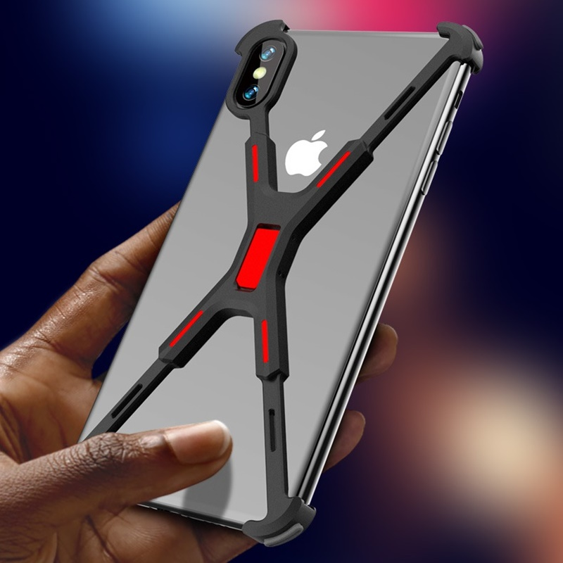 New Luxury X Shape Mobile Phone Case For Iphone X XR Funda Metal Coque Shockproof Bumper Cover For Iphone XS MAX Phone Cases