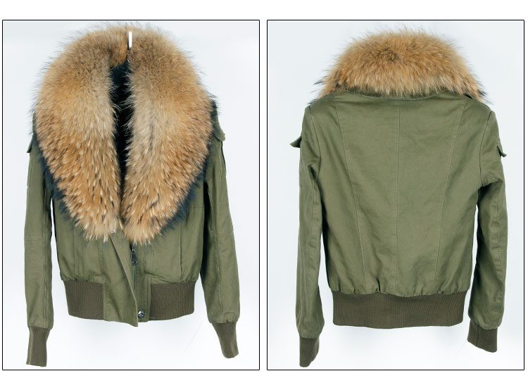 women cotton Flight suit jacket with real fur collar (9)