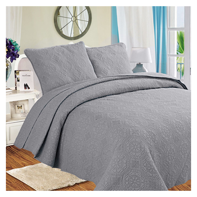CHAUSUB Solid Washed Cotton Quilt Set 3PCS Quality Embroidery Bed Cover Sheets Quilted Bedspread King Size Pillowcase Coverlet