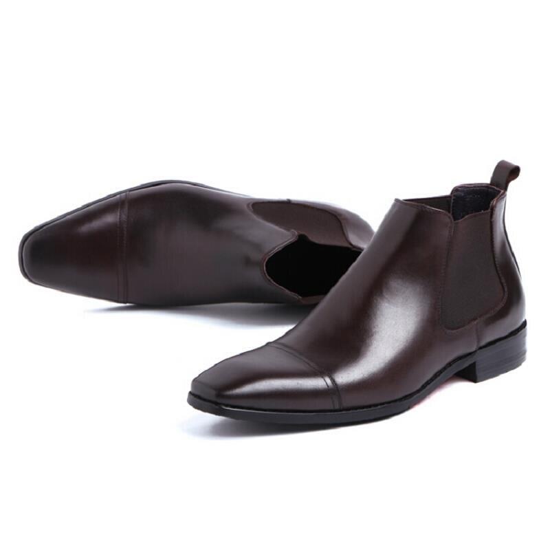 Heinrich Sapatas Novo Ankle Chelsea Vestido Conforto De Homens Inverno Couro Mens Boots brown Black Genuíno Dos brown Zapatos Botas Preto rrwP1