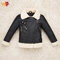 Ad качество мальчики девочки кожаные куртки PU руно загущающие детские пальто меховой воротник малыша одежда классный дизайн зима