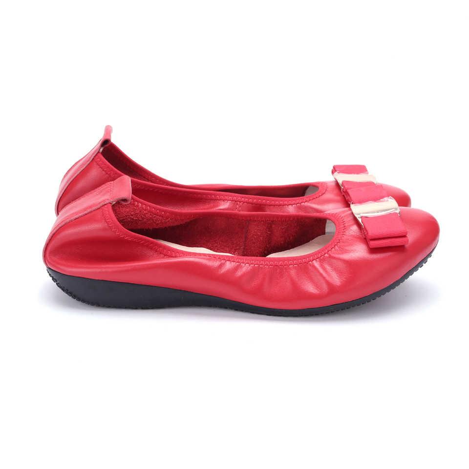 Moda marka kadın ayakkabısı yeni kadın Flats ayakkabı bayanlar yay yuvarlak kafa Slip-On loafer ayakkabılar hakiki deri artı boyutu 34 -43