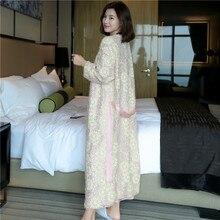 Pink Sequins Embroidered Long Robe Female Autumn Winter Sexy Silk Woman Bathrobes Kimono Elegant Sleepwear LMR11
