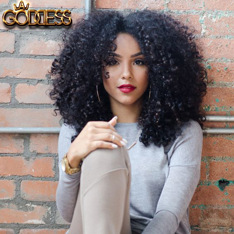Kinky Curly Lace Front Wig 10 24 Inch Natural Black