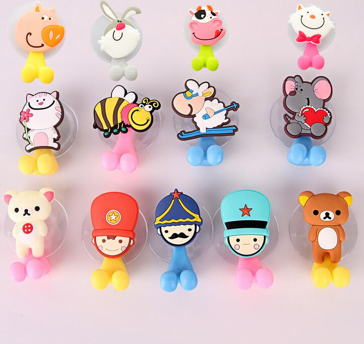 Multifunctional Cute Cartoon Animal Suction Cup Toothbrush Holder Hooks Bathroom Accessories 24 Colors Hot Sale image