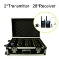 2.4GHz Wireless Tour Guide System With a Portable Charging Case (2Transmitter, 28 Receivers)