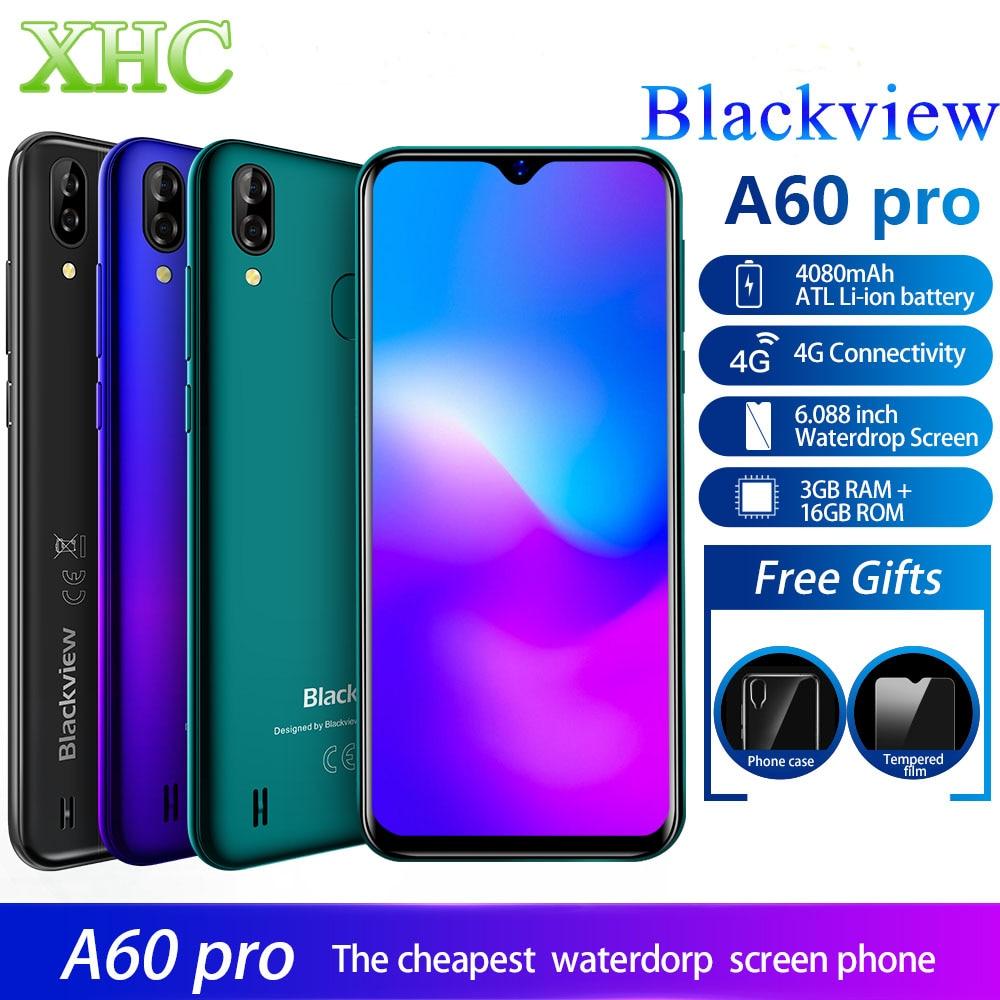 LTE 4G Blackview 16 3 A60 Pro Android 9.0 Smartphone RAM GB ROM GB MT6761V Quad Core Dual SIM impressão digital GPS Do Telefone Móvel 4080 mAh