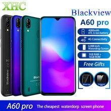 Lte 4g blackview a60 pro android 9.0 smartphone ram 3 gb rom 16 gb mt6761v quad core duplo sim impressão digital gps 4080 mah telefone móvel