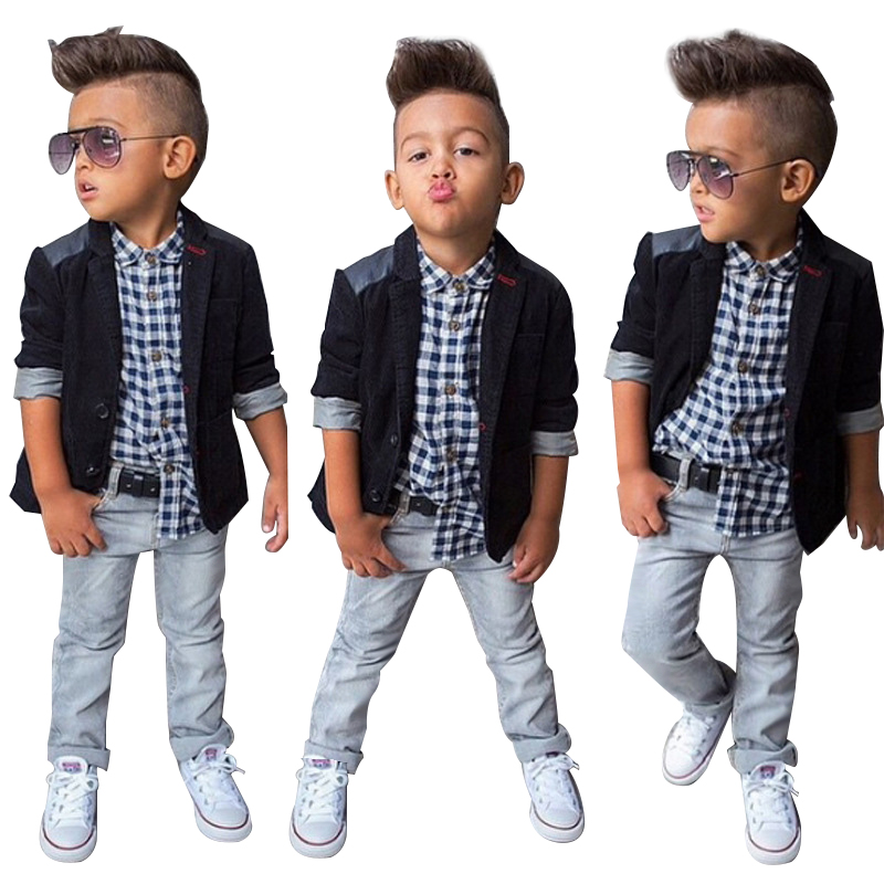 цена на Spring Autumn Children Boys Clothing Sets Baby Boys Suit Set Black Jacket Coat + Plaid Shirt + Denim Pants 3pcs Kids Clothes Set