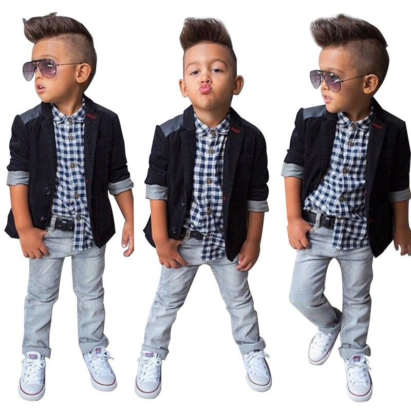 Spring Autumn Children Boys Clothing Sets Baby Boys Suit Set Black Jacket Coat + Plaid Shirt + <font><b>Denim</b></font> Pants 3pcs Kids Clothes Set