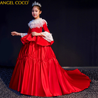 Elegant Princess Lace Dress Kids FNew Year Dresses For Girls Vintage Children Dresses for Christmas Party Red Ball Gown Kaftan