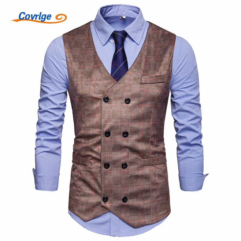 Covrlge Brand Mens Business Casual Vest High Quality Clothing Plaid Double Breasted MWX042