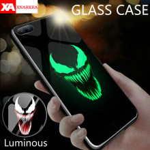 Deadpool Marvel Vilão Venom Super Hero Caso De Vidro Luminoso Para iphone 7 8 6 6s Plus X XR Xs Max casos de Telefone da DC Comics Coque(China)