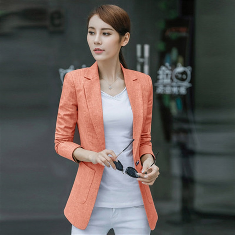 Linen Suit Jacket Women's Spring And Autumn New Simple Slim Suit Large Size Retro OL Office Casual Business Small Suit Jacket