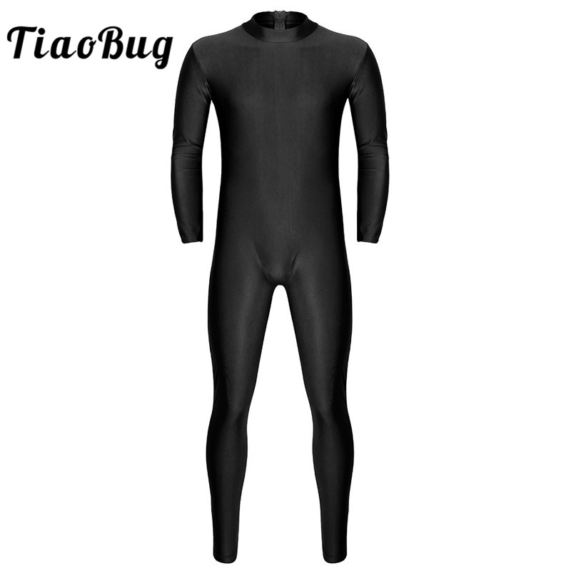 <font><b>TiaoBug</b></font> Men One-piece Long Sleeve Skin-Tight Solid Color Ballet Gymnastics Leotard Unitard Bodysuit Adult Stage Dance Costumes image