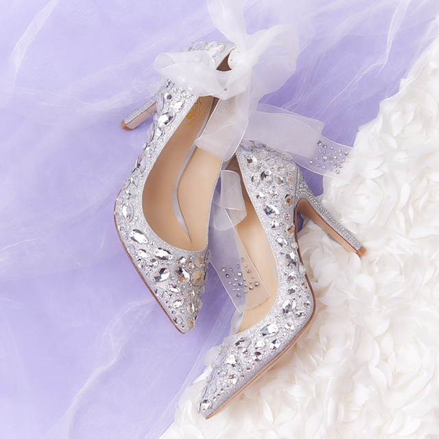 genuine leather crystal wedding shoes diamond sharp points high heels  bridal shoes women sheepskin pumps comfortable customized