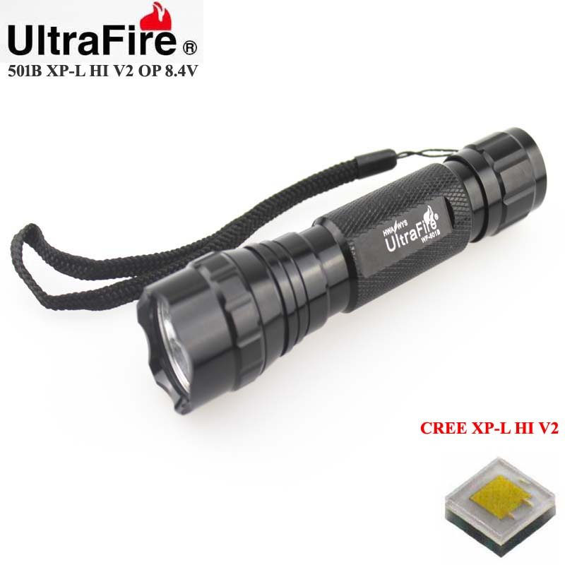 U-F 501B CREE XP-L HI V2 1600lm Cool White Light 8.4V 5-Mode OP LED Flashlight (1 x 18650/2x18650)