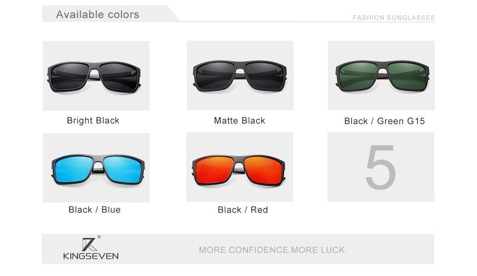 KINGSEVEN Men's Glasses TR90 Polarized Lens Sunglasses Mirror Square Goggle Eyewear Accessories For Men Female Sun Glasses Gafas