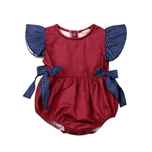 Summer Baby Girl Striped Wave Point Comfortable Breathable Jumpsuit Romper Short Sleeve Bow Wavy Lace