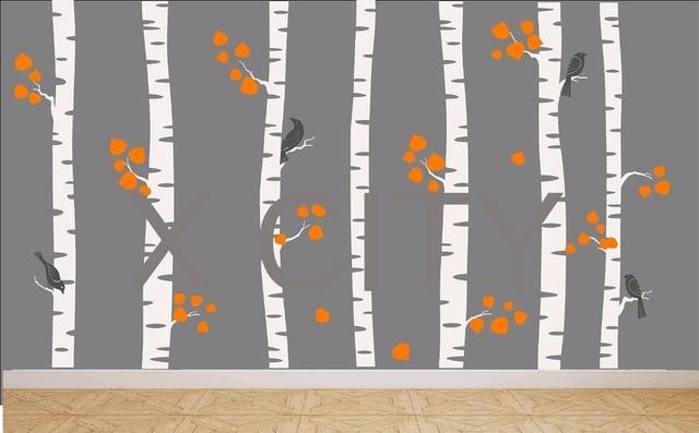Giant Nursery Birch Tree Forest with Birds crow Wall Art Sticker ...
